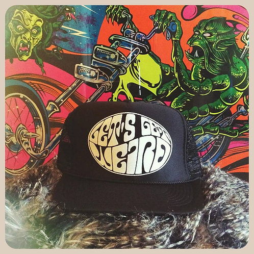 """let's get weird"" psychedelic black adjustable snap back classic trucker hat"