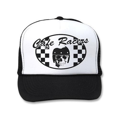CAFE RACER CHECKERED FLAG SKULL WHITE/BLACK HATS