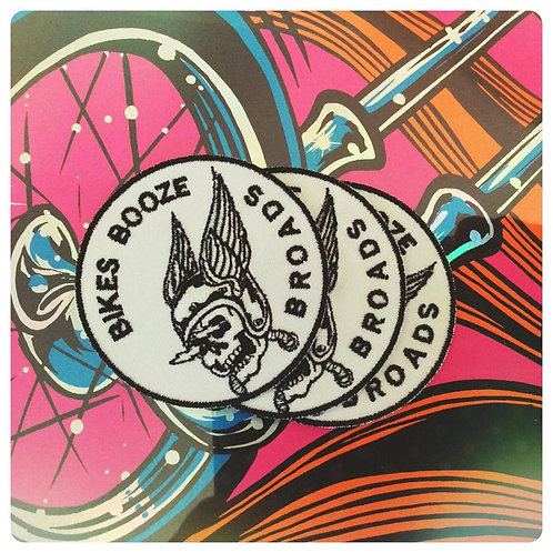 "Bikes Booze Broads 3"" Round Embroidered Winged Helmet patch"