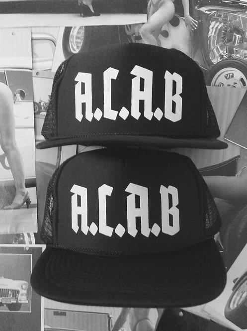 A.C.A.B. solid black mesh truckers w FUKNH8 brim