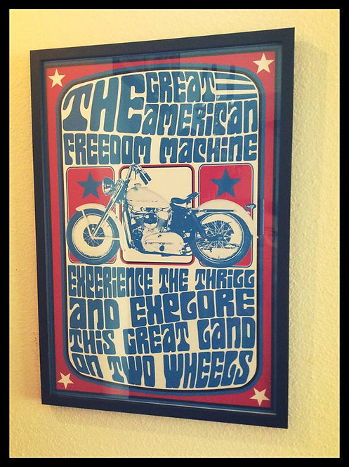 """The Great American Freedom Machine"" 60's style American framed print"