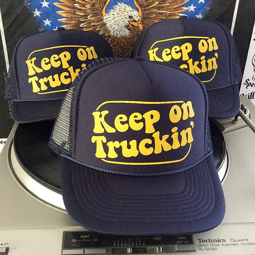 KEEP ON TRUCKIN'  navy blue trucker hats