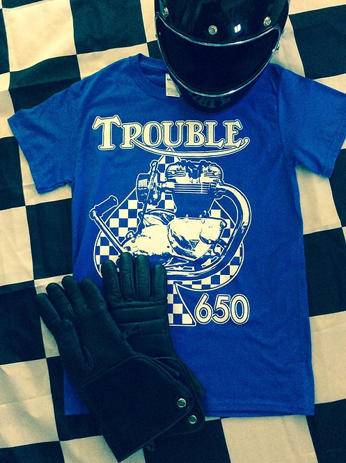 TROUBLE 650 & CHECKERED SPADE Royal Blue T's