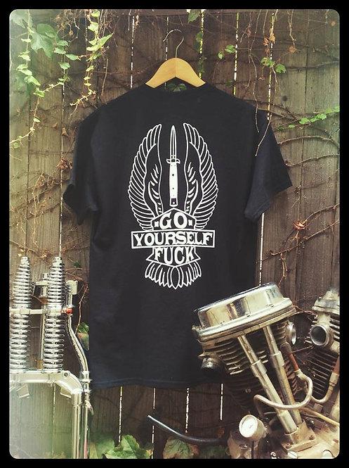 Go Fuck Yourself winged shield & switchblade black shirt