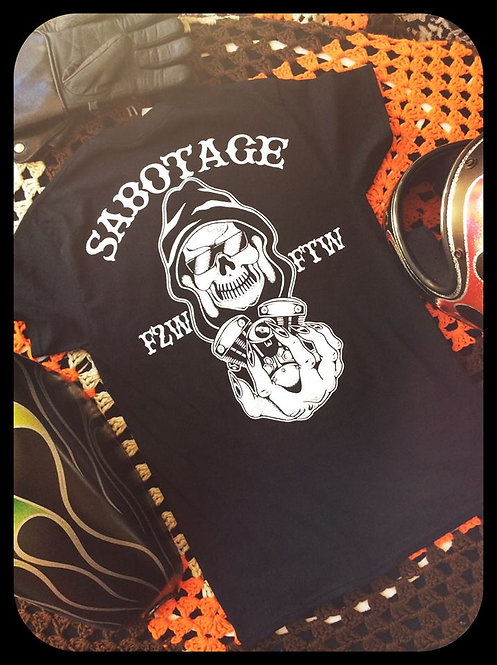"""sabotage"" F2W  Engine & reaper black tee shirt"