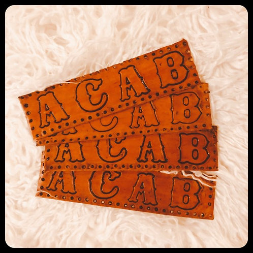 A.C.A.B. PATCH Hand Tooled Premium Leather Cowhide