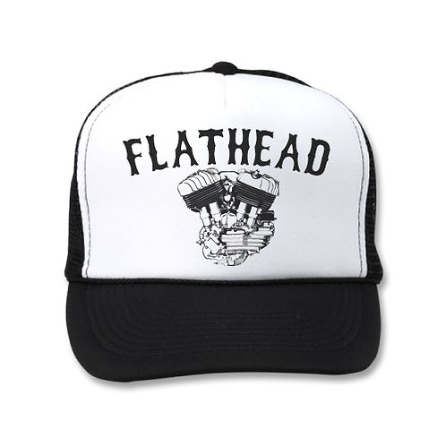 FLATHEAD ENGINE WHITE/BLACK HATS