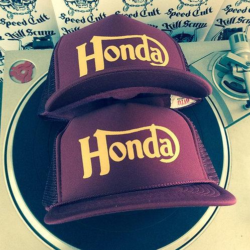 "Norton style ""honda"" Burgundy trucker hat"