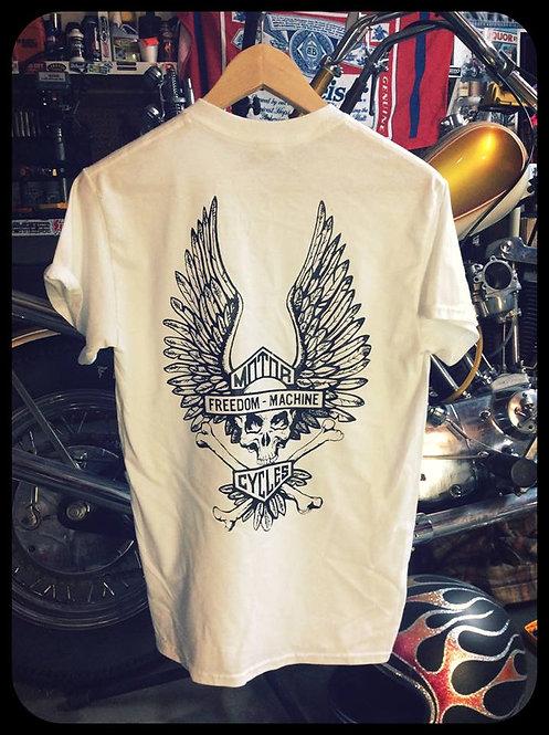"""""""Freedom Machine"""" Skull & wings white shirt"""
