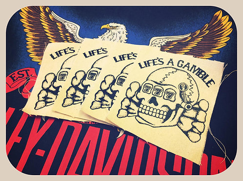Life's a Gamble Death head slot canvas patch