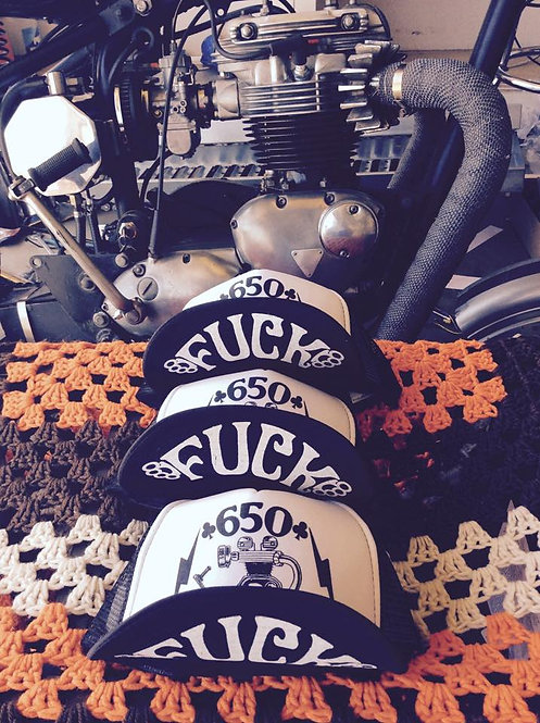 """Flash style Triumph 650 trucker hats with """"fuck"""""""