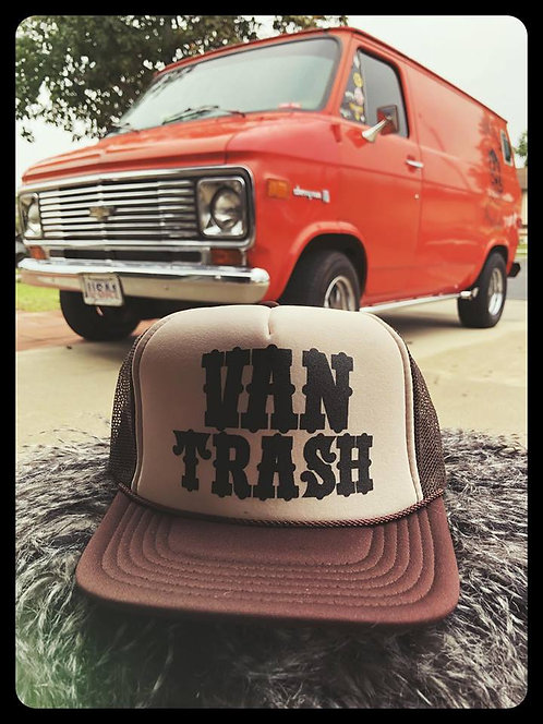 Van Trash solid Tan & Brown adjustable size trucker hat