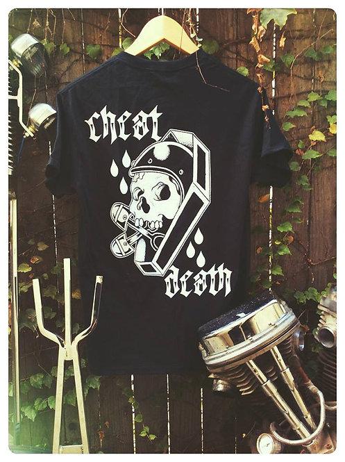 Cheat Death skull & casket black shirt
