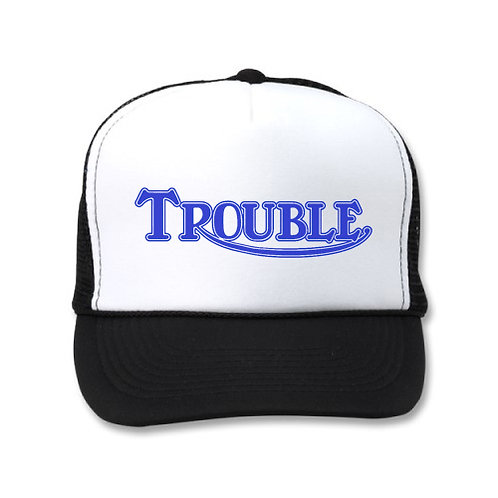 """TROUBLE"" TRIUMPH STYLE LOGO WHITE/BLACK HATS"