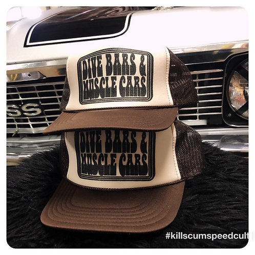 DIVE BARS & MUSCLE CARS tan trucker hats