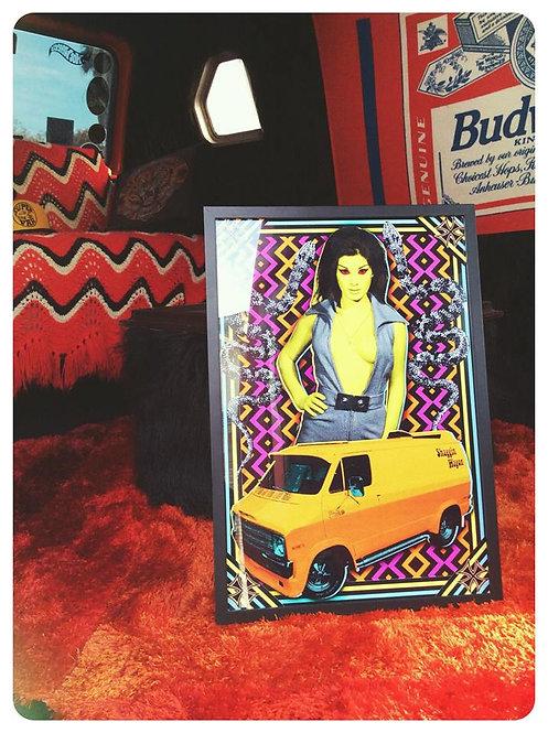 """""""Shaggin' Wagon"""" psych van & babe framed print"""