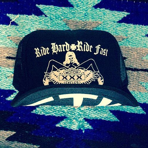"""RIDE HARD RIDE FAST"" BLACK TRUCKER HATS"
