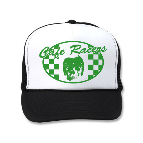 CAFE RACER CHECKERED FLAG SKULL WHITE BLACK HATS cbdca930f5f6