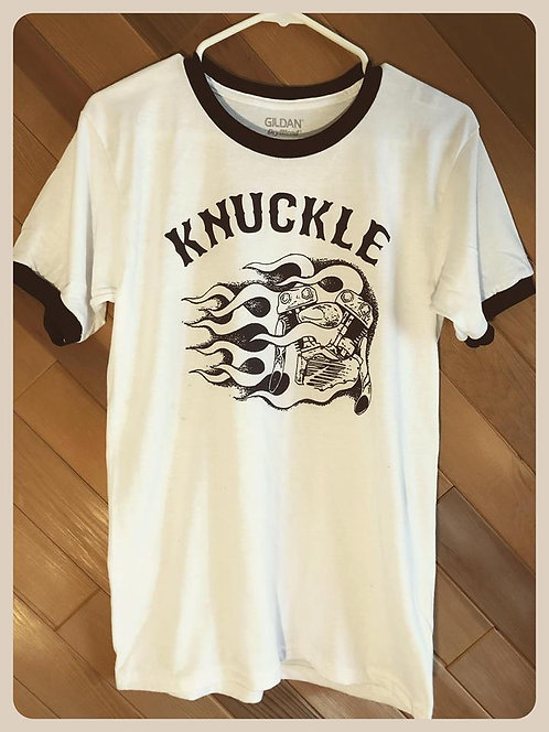 Knuckle Fire White & Black Ringer Tee