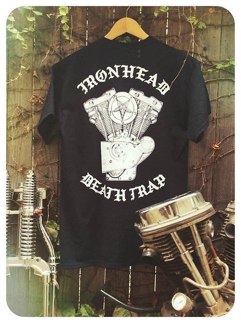 Ironhead Death Trap engine & pentagram black cotton tee