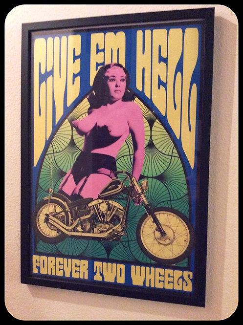 """""""Give 'em Hell"""" Forever Two Wheels Shovelhead & babe framed print"""