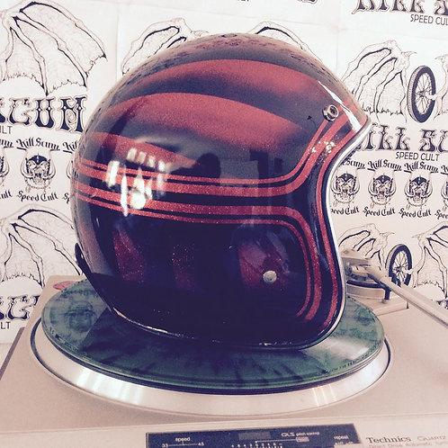 SPEED DEMON 3/4 open face, red flake custom helmet