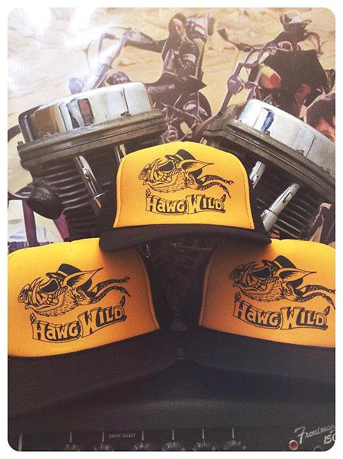 """Hawg Wild"" black & yellow trucker hat"