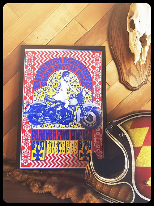 Shake Rattle & Roll framed motorcycle psychedelic print