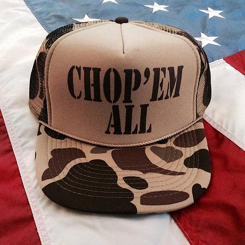 CHOP'EM ALL VIETNAM CAMMO TRUCKER HATS!