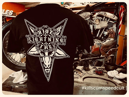 RIDE THE LIGHTNING Pentagram & Chain Shield Shirt