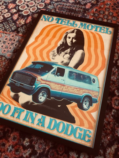 No Tell Motel Dodge van framed print