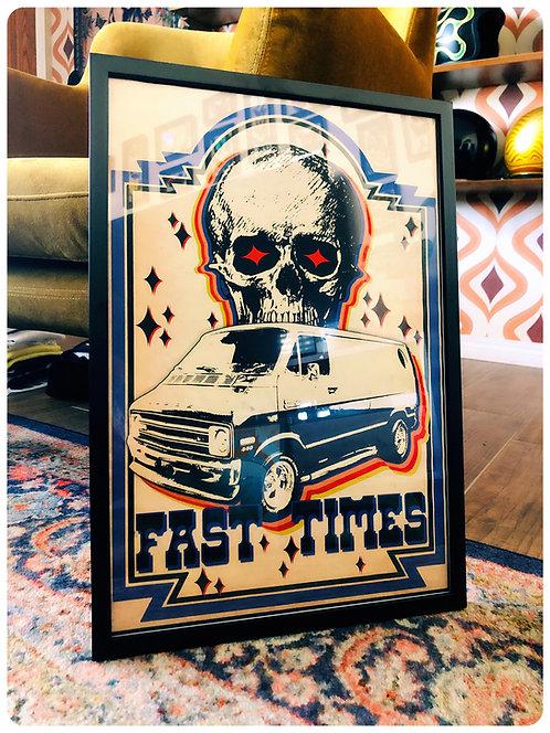 FAST TIMES Van & Skull framed print