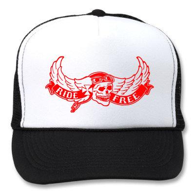 RIDE FREE FLYING SKULL WHITE HATS