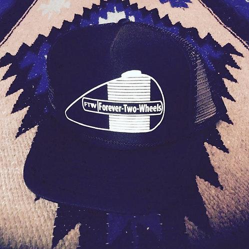 FOREVER TWO WHEELS AMF TANK BLACK TRUCKER HATS