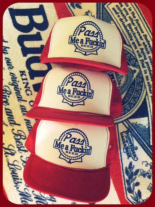 """""""Pass me a fucking beer"""" Pabst knock off party hat"""