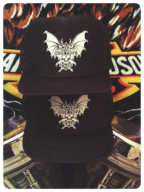 LIVE FREE RIDE FREE BATWINGS BLACK TRUCKER HATS