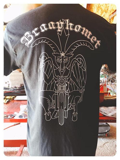 Braaphomet Sabbatic Goat on motorcycle shirt