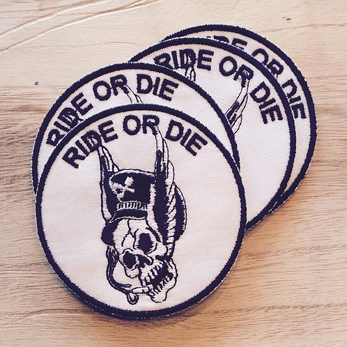 RIDE OR DIE flying skull embroidered patch