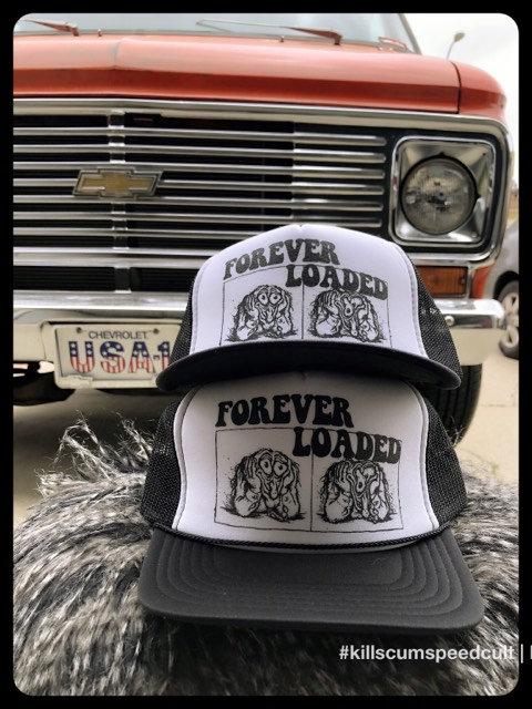 FOREVER LOADED Black & White Robert Crumb trucker hat