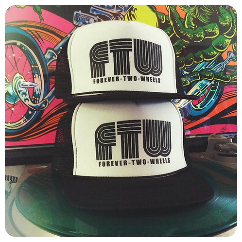 """FTW"" FOREVER 2 WHEELS WHITE/BLACK HATS"