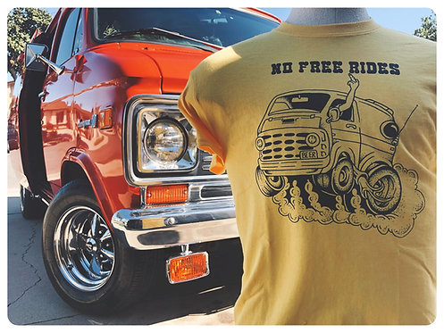 No Free Rides yellow mens tee shirt