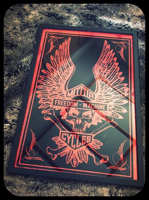 """Motorcycles Freedom Machines"" Winged Skull & Crossbones Bar Mirror"