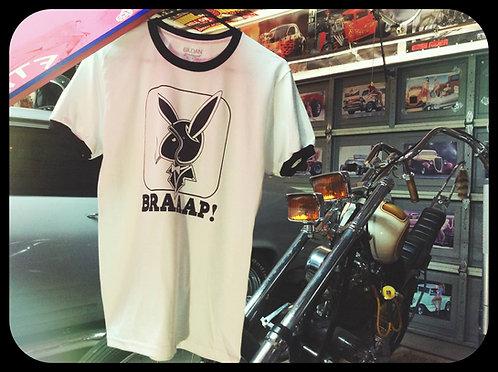 """BRAAAP"" biker Playboy bunny knock off ringer tees"