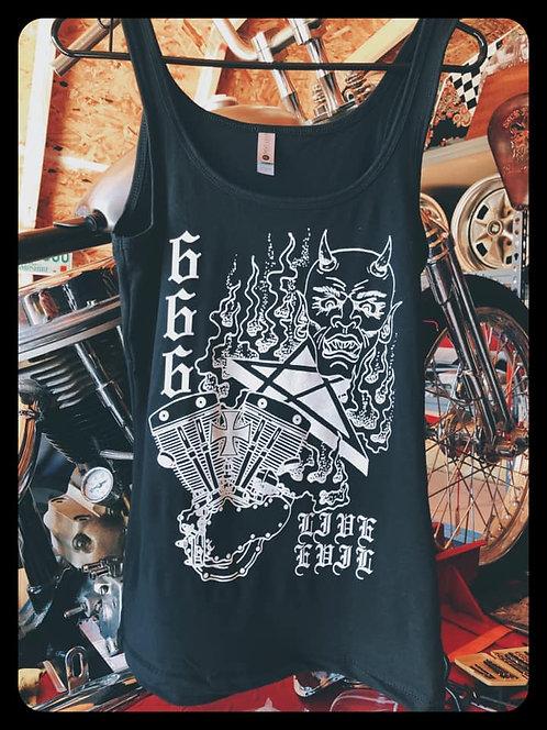 Live Evil Satan & Engine Girls Black Tank Top
