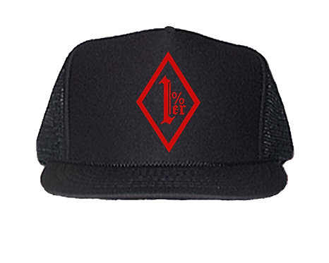 1%ER OUTLAW CLUB BLACK TRUCKER HATS