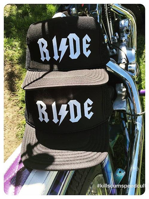 RIDE AC DC style adjustable black trucker hat