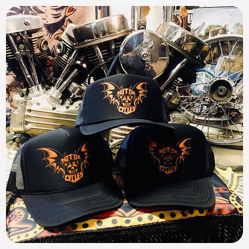 """""""RIDE MOTORCYCLES"""" Batwings & Shield Trucker hat"""