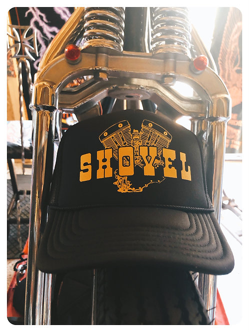 SHOVEL ENGINE Black & Yellow Trucker hat