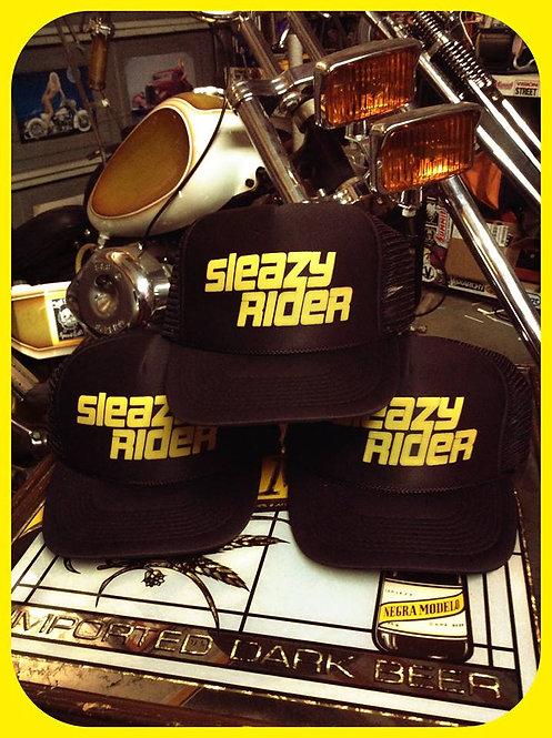 """SLEAZY RIDER"" Easy Rider style black trucker hat"