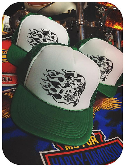 Green & white Fire knucklehead engine trucker caps